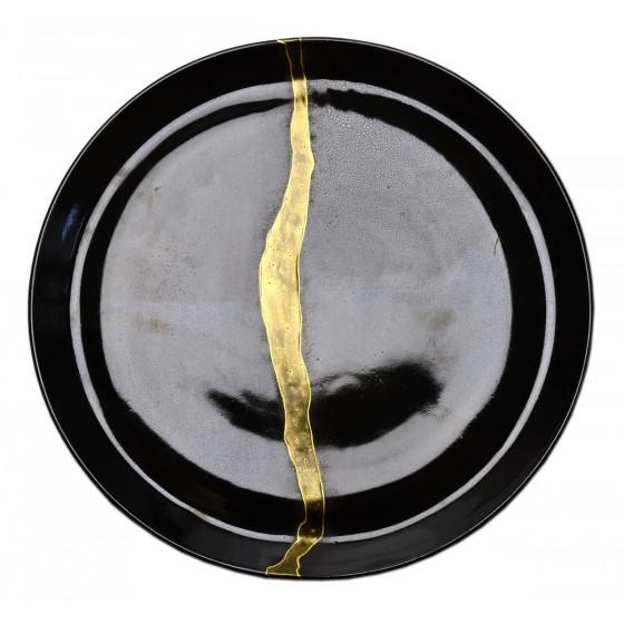 Black stoneware plate kintsugi