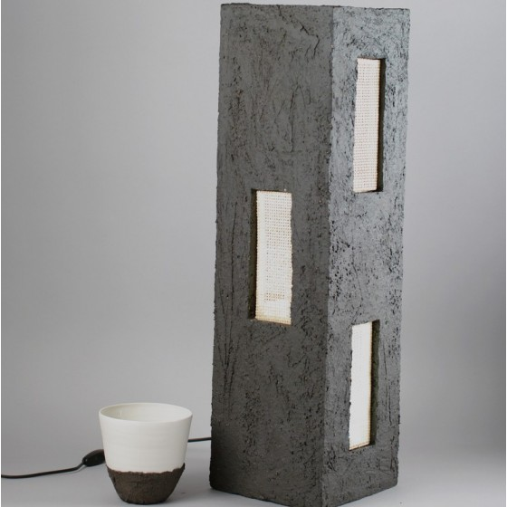 "Black stoneware lamp "" Home"""