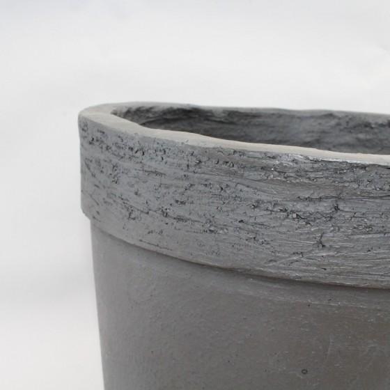 Garden pot black stoneware